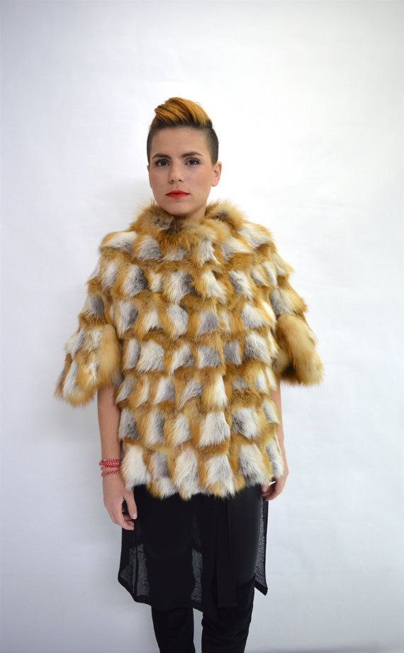 Real fox fur jacket Canadian red fox fur cape. Bridal by BeFur