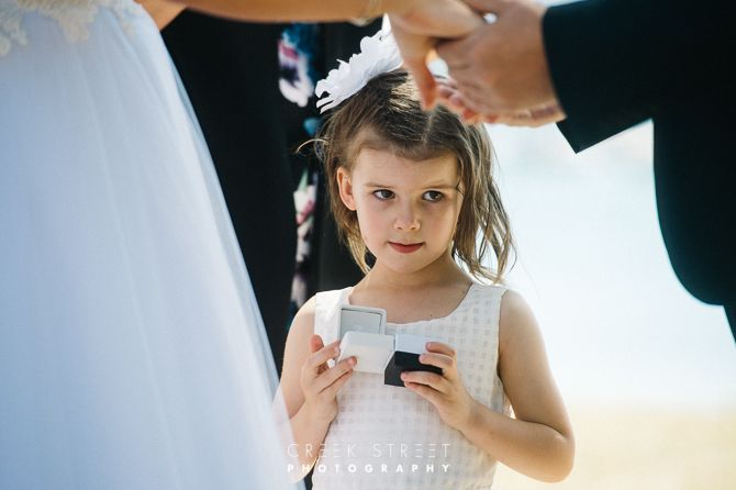 Clareville Beach wedding ceremony - flowergirl ring