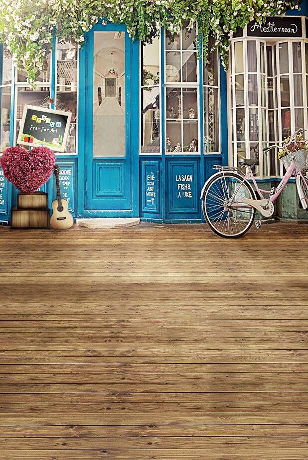 Photography Background Studio Backdrop Fabric Backdrops 220Cm * 150Cm Wood Floors Doors Windows Bikes