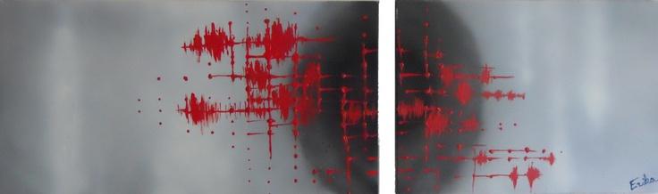 ELECTRIK     Tableau unique format 2 panneaux : 100x73cm + 60x73cm - peint en 2012  Technique : Peinture à la bombe et peinture à l'acrylique.  La toile est montée sur châssis bois et protégée par un vernis afin de donner une très bonne longévité.