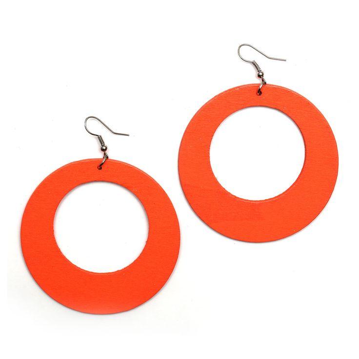 Orange large round wooden hoop dangle earrings