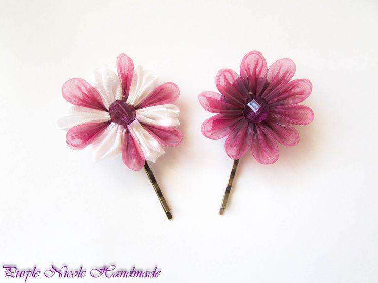 Daisys - Handmade Hair Pins by Purple Nicole (Nicole Cea Mov). Materials: handmade kanzashi flowers.