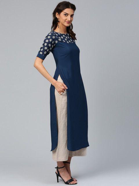 Buy Libas Women Navy Solid Straight Kurta