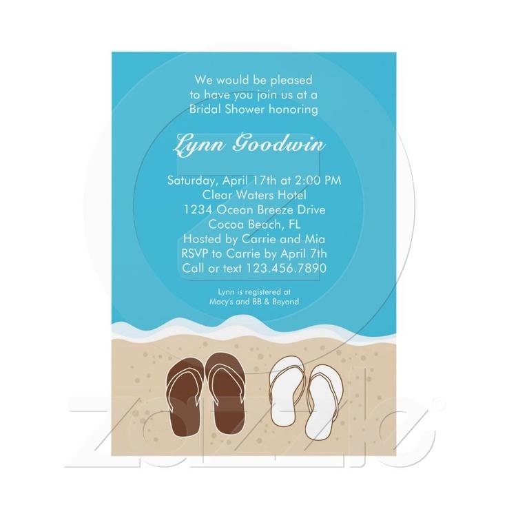 blank beach bridal shower invitations%0A Shop Flip Flops Couple u    s Bridal Shower Invitation created by  marlenedesigner