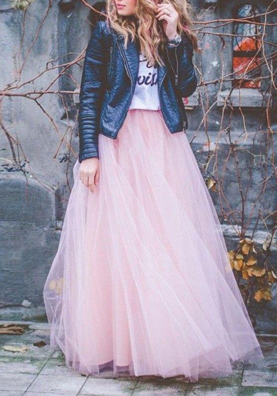 Rosa Ebene Granatapfellikör drapierte Puffy Tüll mit hoher Taille Mode Tutu Maxirock