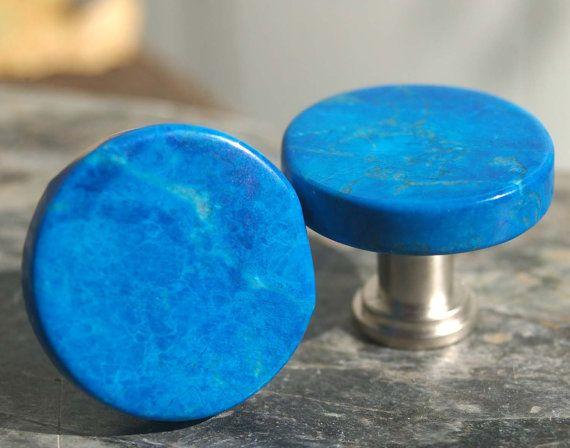 Round Blue Jasper Cabinet Knobs - Set of 2, Stone Cabinet Knobs, Kitchen Knobs and Pulls