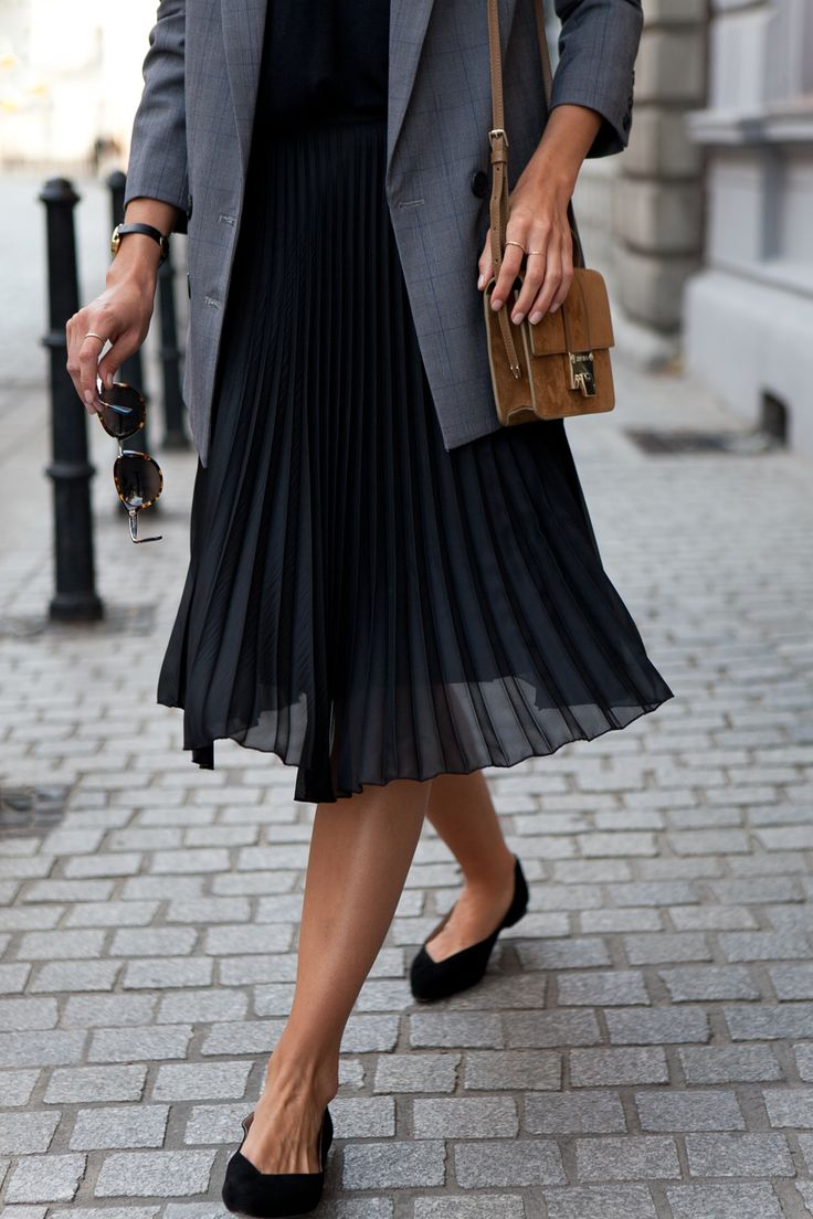 Sheer Pleated Skirt, Camel bag & Black flats.