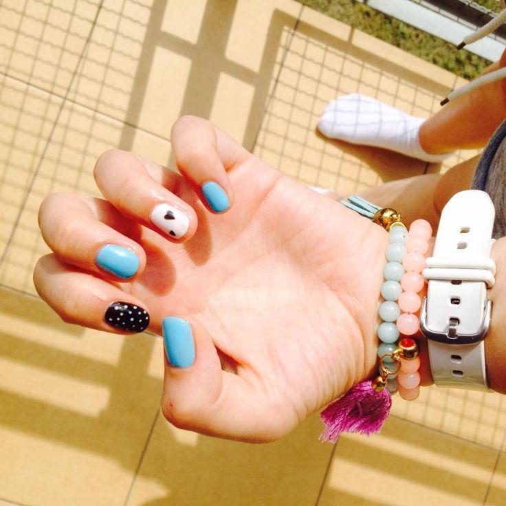 #nails #paznokciehybrydowe #hybryda #blue #heart #dots #black #white #manicure