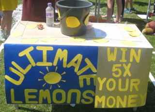 Ultimate Lemons Fundraiser Balance a coin on a lemon floating in a bucket of water to win a prize.