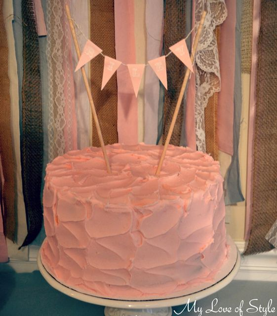 Pretty pink cake at a Baby Shower!  See more party ideas at CatchMyParty.com!