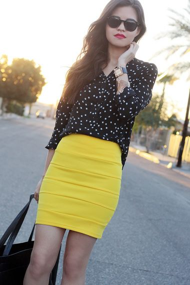 Wore something like this out to dinner the other night…Mustard colored bandage skirt and a white shirt with black dots look awesome as well!