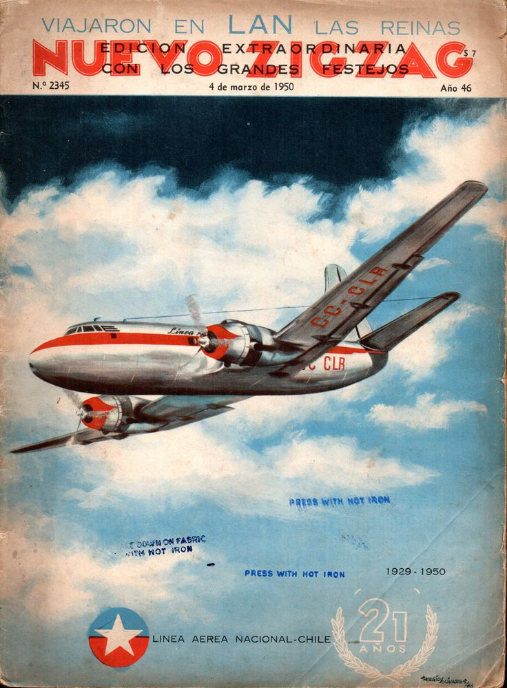 Viajaron en Lan las reinas.  Glenn Martin 202, matrícula CC-CLR. Publicado en revista Zig Zag 4 de Marzo de 1950.