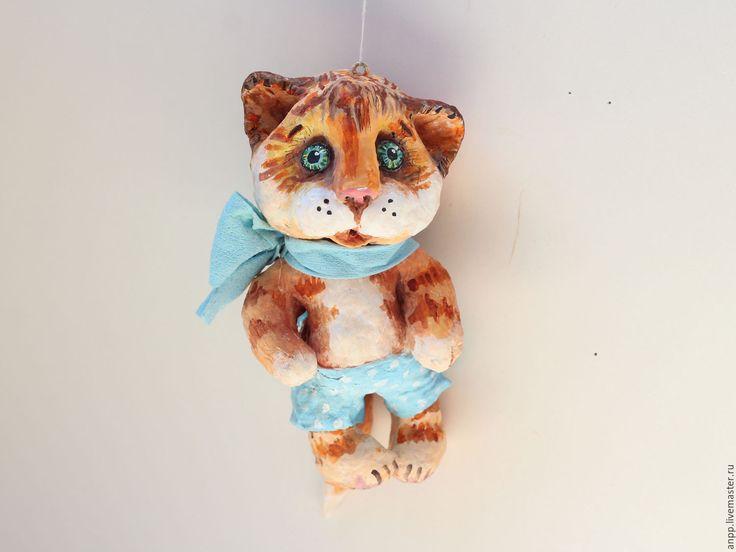 Купить Игрушка ёлочная Котик - рыжий, кот, елочная игрушка из ваты, игрушка на елку