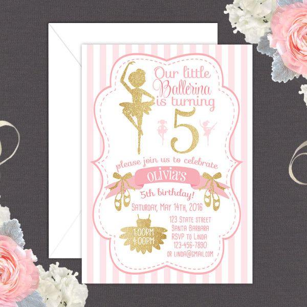 Ballerina- Ballet theme birthday invitation in pink and gold glitter