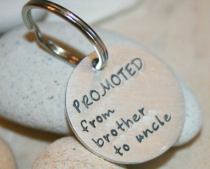 NEW UNCLE Gift - Hand stamped aluminum pregnancy announcement aluminum keyring by iiwii emporium by iiwiiemporium on Etsy https://www.etsy.com/listing/227286763/new-uncle-gift-hand-stamped-aluminum