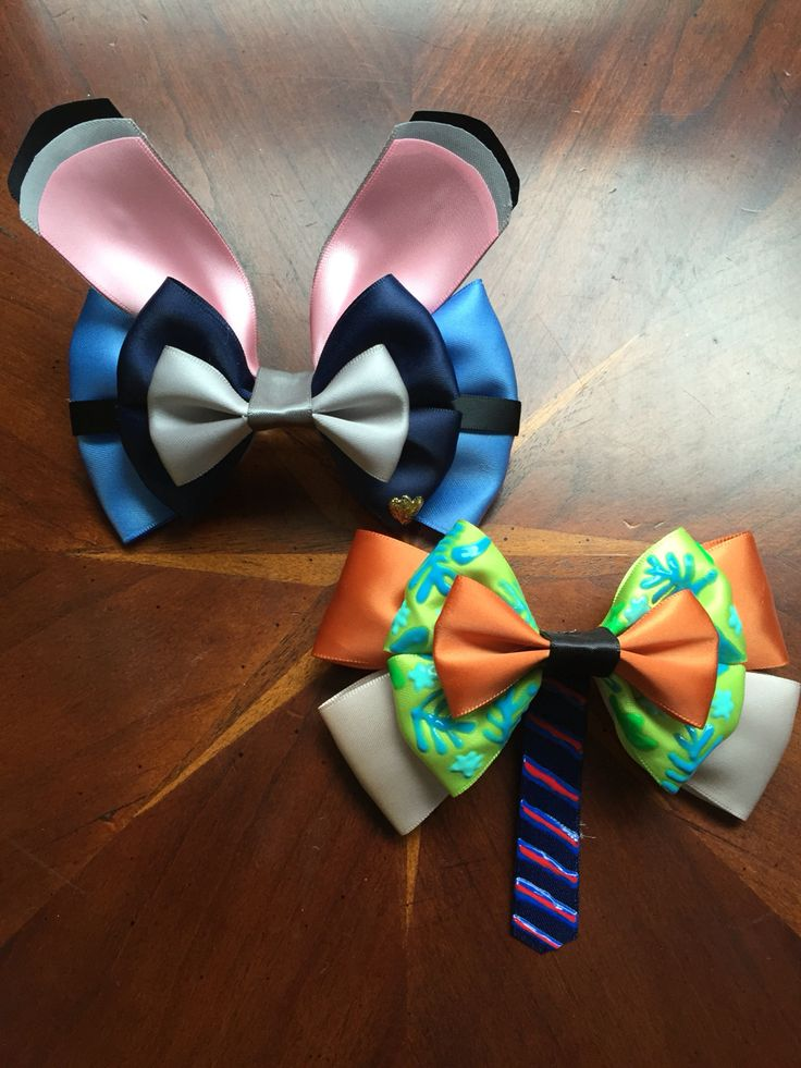Inspired by Disney's new animated film, Zootopia, Judy Hopps and Nick Wilde hair bows.