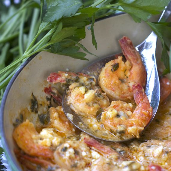 Greek-style Garlicky Shrimp with Feta.  So easy!