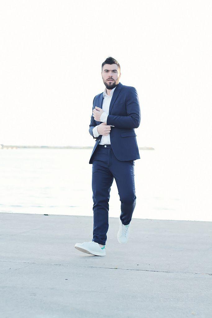 man street style mens street fashion adidas stan smith blue suit white shirt