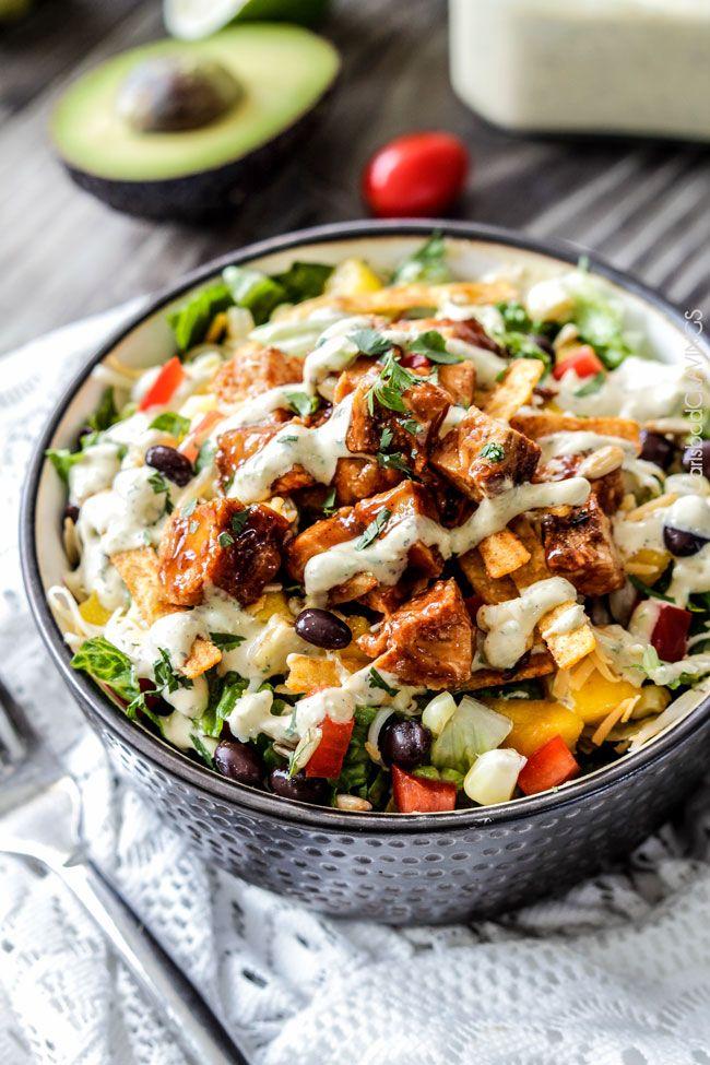Chipotle BBQ Chicken Salad with Tomatillo Avocado Ranch Dressing