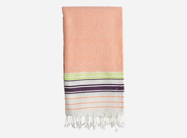 Af0635 - Bath towel, Andy, neon orange/neon yellow/white/blue, 100% cotton