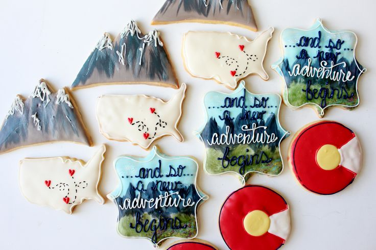 Colorado cookies, adventure cookies, painted cookies, USA shape cookie, mountain cookie. Decorated sugar cookies