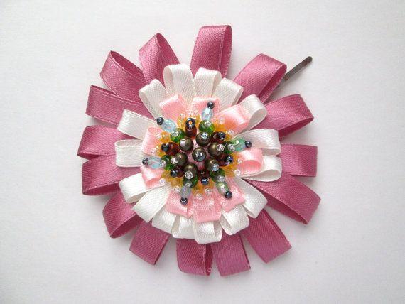 Miss Elizabeth Bennet Double Pink & White Beaded by MadiReShop #flower #hair #pin #bow #pride #prejudice #elizabeth #bennet #pink #keira knightley