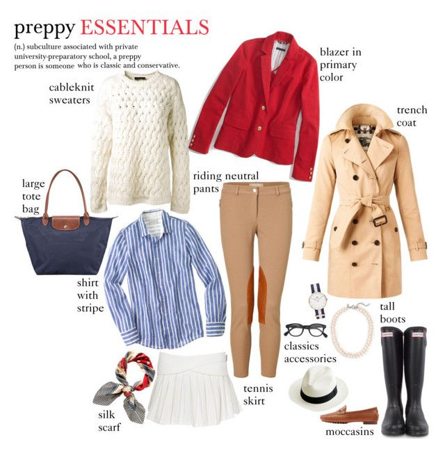 """preppy ESSENTIALS"" by newyorkismysoul ❤ liked on Polyvore featuring Longchamp, Daniel Wellington, Hunter, The Row, Burberry, Ralph Lauren Collection, J.Crew, Michael Kors and Juicy Couture"