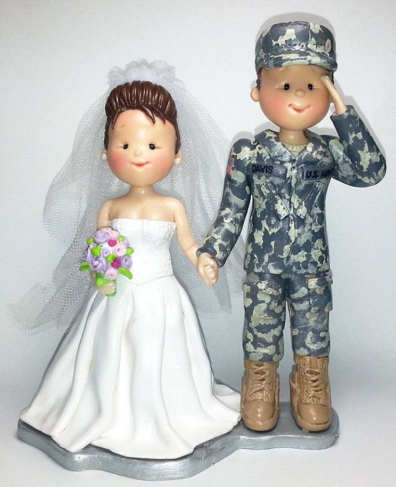 Army and a Bride Polymer Clay Wedding Cake by HandcraftedCuties, $100.00