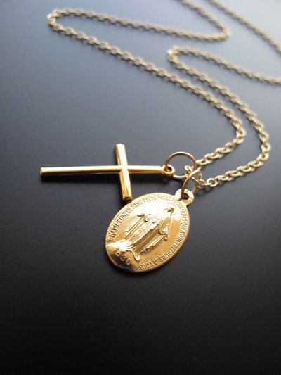 """20"""" Authentic """"Blessed Miraculous Medal"""" & Italian Cross, Gold Filled Chain Necklace, Virgin Mary Rosary. $41.00, via Etsy."""