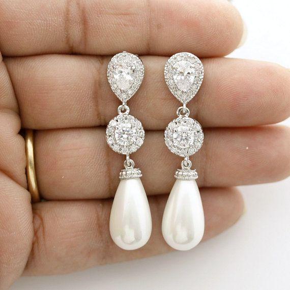 Pearl Earrings Bridal Jewelry Pearl Wedding by poetryjewelry