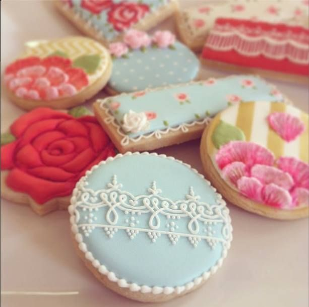 Vintage Cookies~ No source, Pink, Blue, ivory