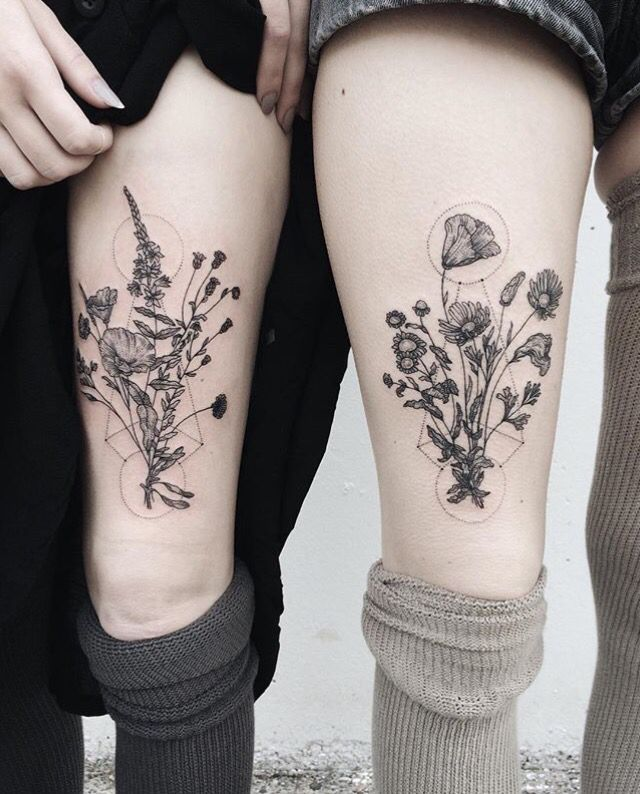 Matching Floral Geometric Tattoos