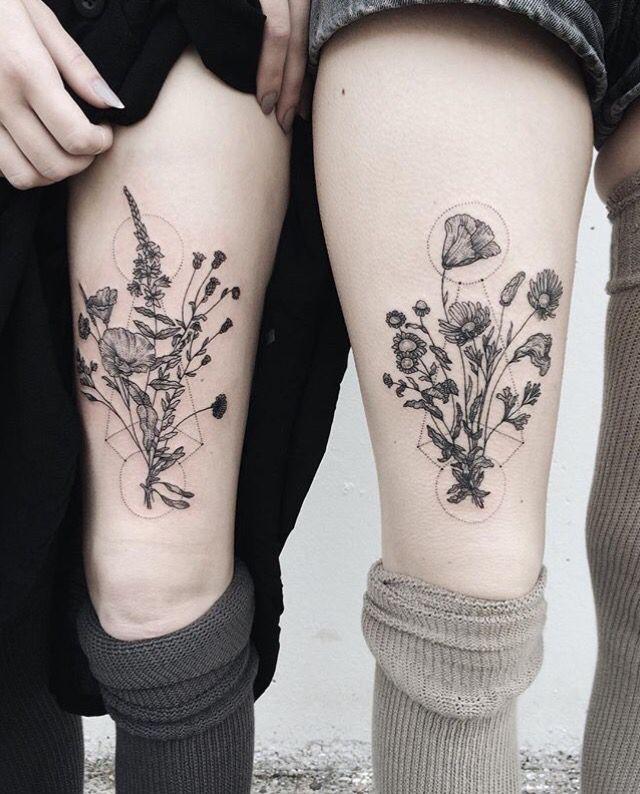 Matching Floral Geometric Tattoos