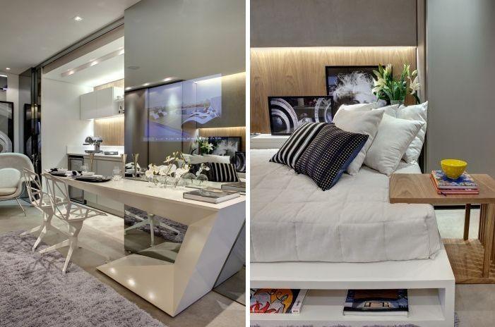 A mesa tem design arrojado e cadeiras modernas. / Para ganhar mais espaço, a cama foi feita com nichos que servem para guardar objetos e enfeites.