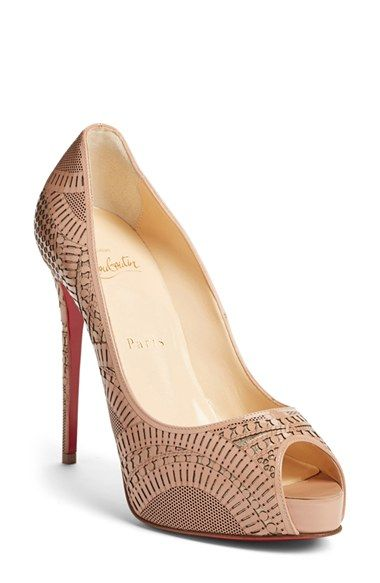 Christian Louboutin 'Suellena' Laser Cut Peep Toe Pump available at #Nordstrom Gorgeous!!!