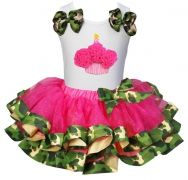 For her 1st Birthday  TUTU Hotpink camouflage Satin Trimmed