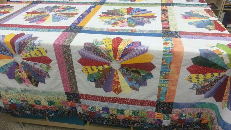 Dresden plate scrap quilt