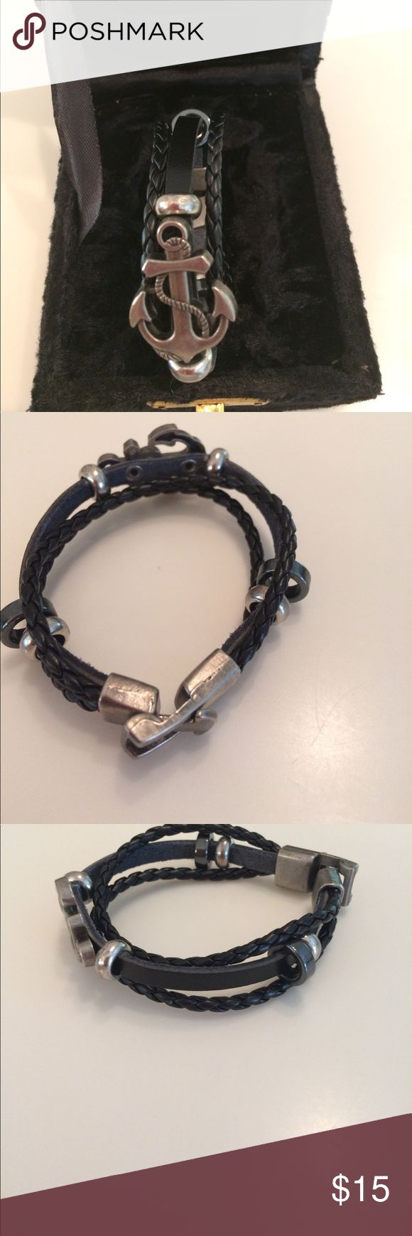 Men's Nautical Bracelet. Black ropes with pewter anchor and closure. Accessories Watches