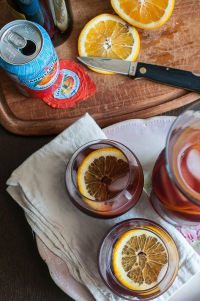 Almost Instant Sangria! Red Wine, San Pellegrino Blood Orange Soda & Orange Slices! It's so good!