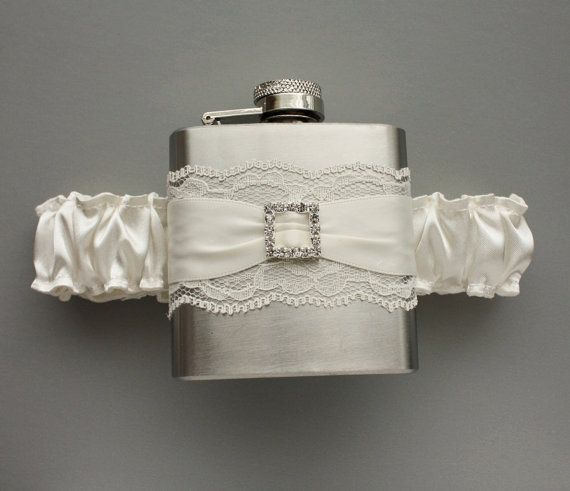 Ivory Wedding GARTER FLASK Ivory Bridal Garter by MoonshineBelle