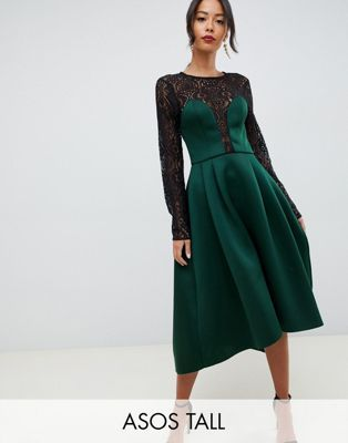 8938e73001 DESIGN Tall long sleeve lace top prom midi dress in 2019 ...