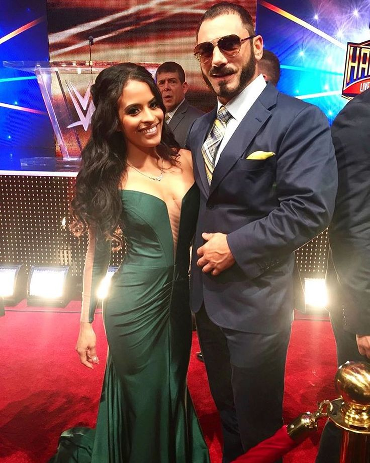 WWE Superstar Austin Aries (Daniel Healy Solwold Jr.) and his fiancé Thea Trinidad on the red carpet at the 2017 WWE Hall of Fame ceremony #WWE #WWEHOF #WrestleMania #wwecouples