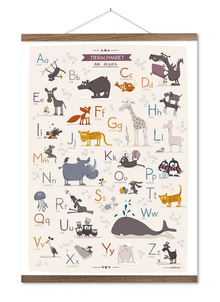 Aufkleber & Etiketten - Tieralphabet - ABC Poster - ein Designerstück von catsonappletrees bei DaWanda