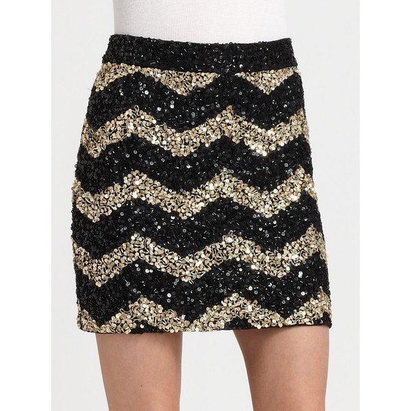 Alice + Olivia Leigh Sequined Skirt ($258) ❤ liked on Polyvore