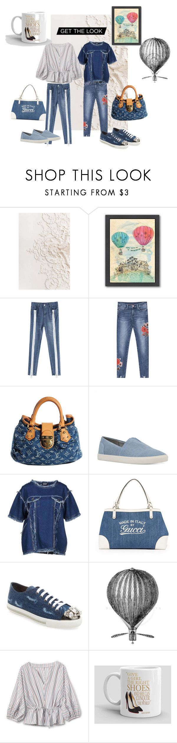 """Denim style"" by marianaleonluzardo ❤ liked on Polyvore featuring Americanflat, Louis Vuitton, Nine West, Andrea Crews and Miu Miu"