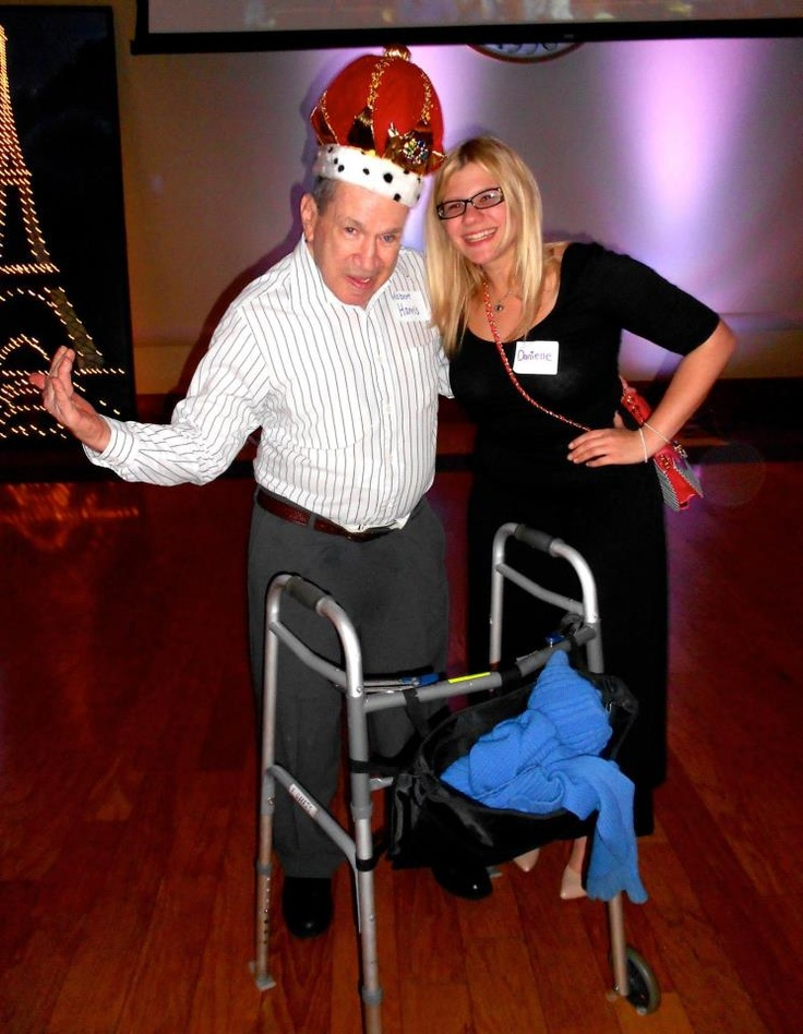 """Our sister Danielle with King Bob at USF's  """"Senior (Citizen) Prom"""" put on by student volunteers for a local senior citizen home!"""