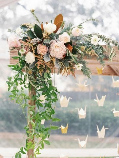 color: Floral Arches, Arbors Flowers, Paper Cranes, Ceremony Backdrops, Galleries Amp, Bunch Of Flowers, Origami Cranes, Arches Floral, Arches Ideas