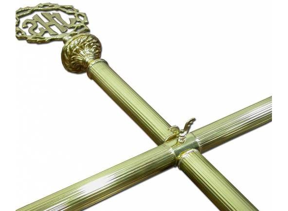 Vara porta estandarte con JHS o emblema de la Virgen / T-pole stand for Easter processional and church banners (1/7). http://www.articulosreligiososbrabander.es/vara-porta-estandarte-bronce-pina-nudo-procesion-jhs.html