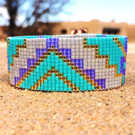 Turquoise lavendel Bead Loom armband Boheemse Boho ambachtelijke sieraden Indiase westerse kraal Santa Fe Indiaanse stijl zuidwesten Rodeo