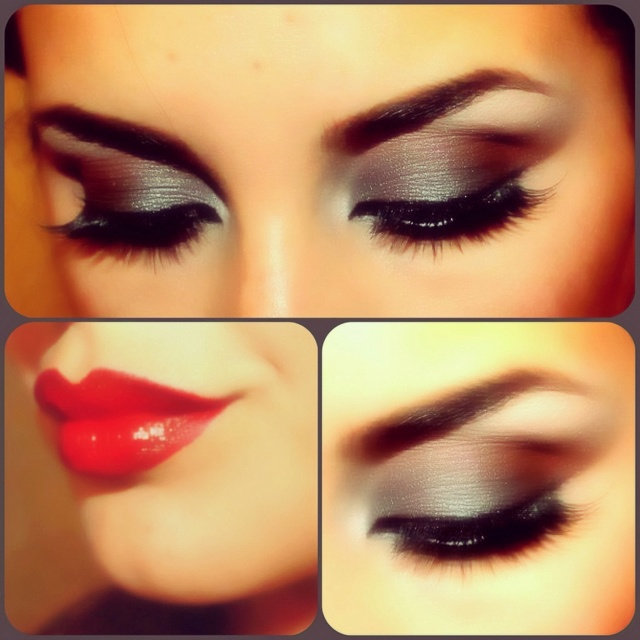 Chrome silver and matte browns. My makeup yesterday, jazzed up with red lips!  Xoxo, Angie